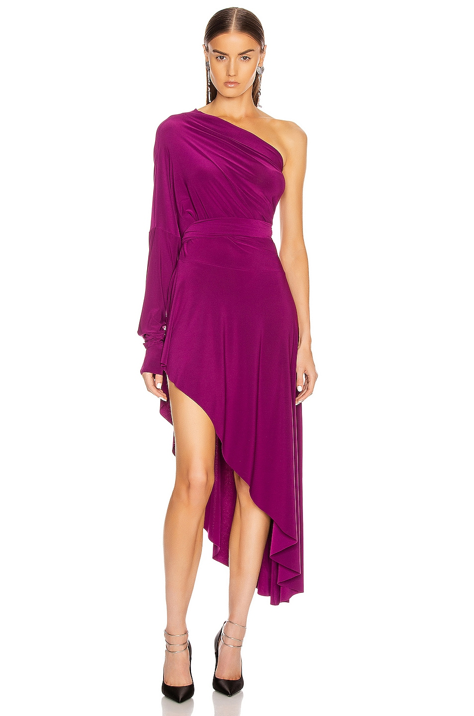 Image 1 of Norma Kamali for FWRD All In One Hi Low Dress in Raspberry