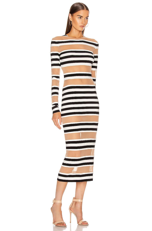 Image 2 of Norma Kamali Spliced Dress in 3/4 Stripe & Nude Mesh