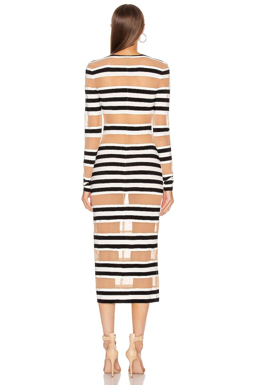 Image 3 of Norma Kamali Spliced Dress in 3/4 Stripe & Nude Mesh