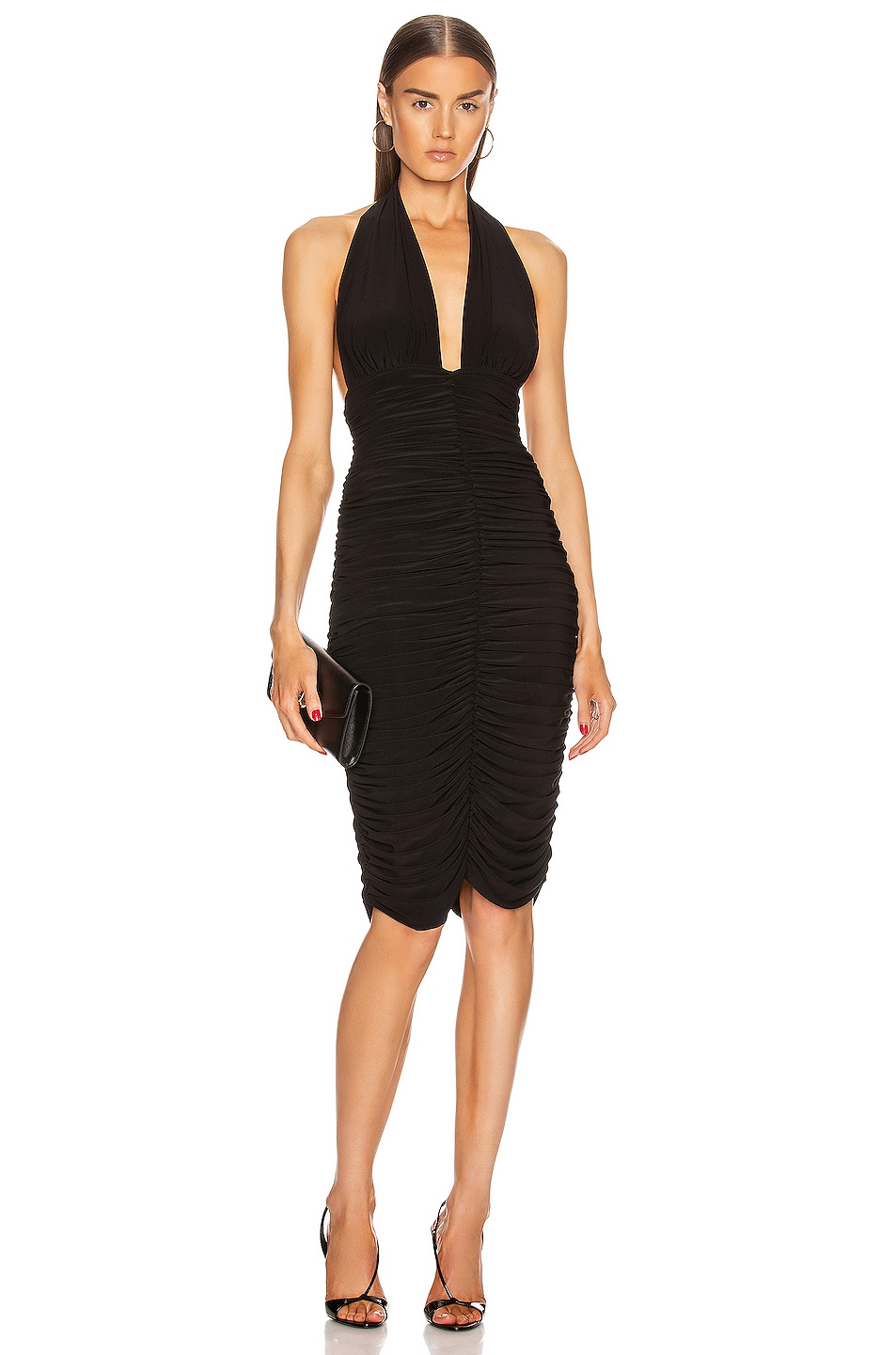 Image 1 of Norma Kamali Halter Slinky Dress in Black
