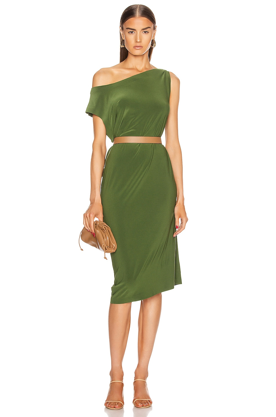 Image 1 of Norma Kamali for FWRD Drop Shoulder Dress in Oliva