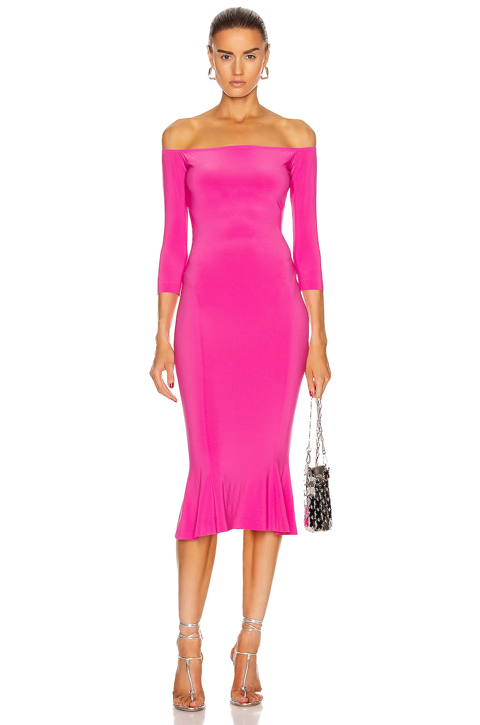 Image 1 of Norma Kamali for FWRD Off Shoulder Fishtail Dress in Orchid Pink