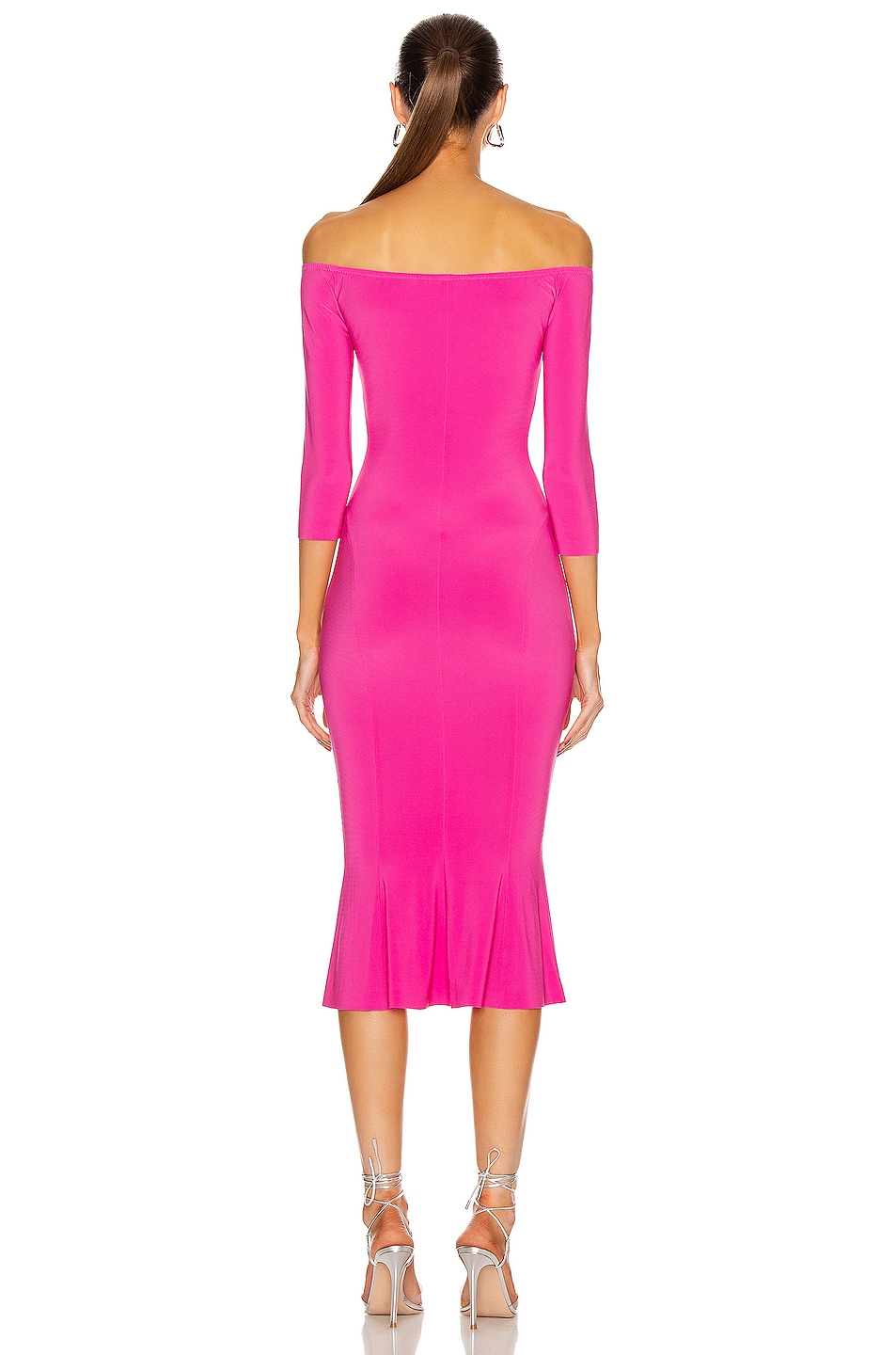 Image 3 of Norma Kamali for FWRD Off Shoulder Fishtail Dress in Orchid Pink