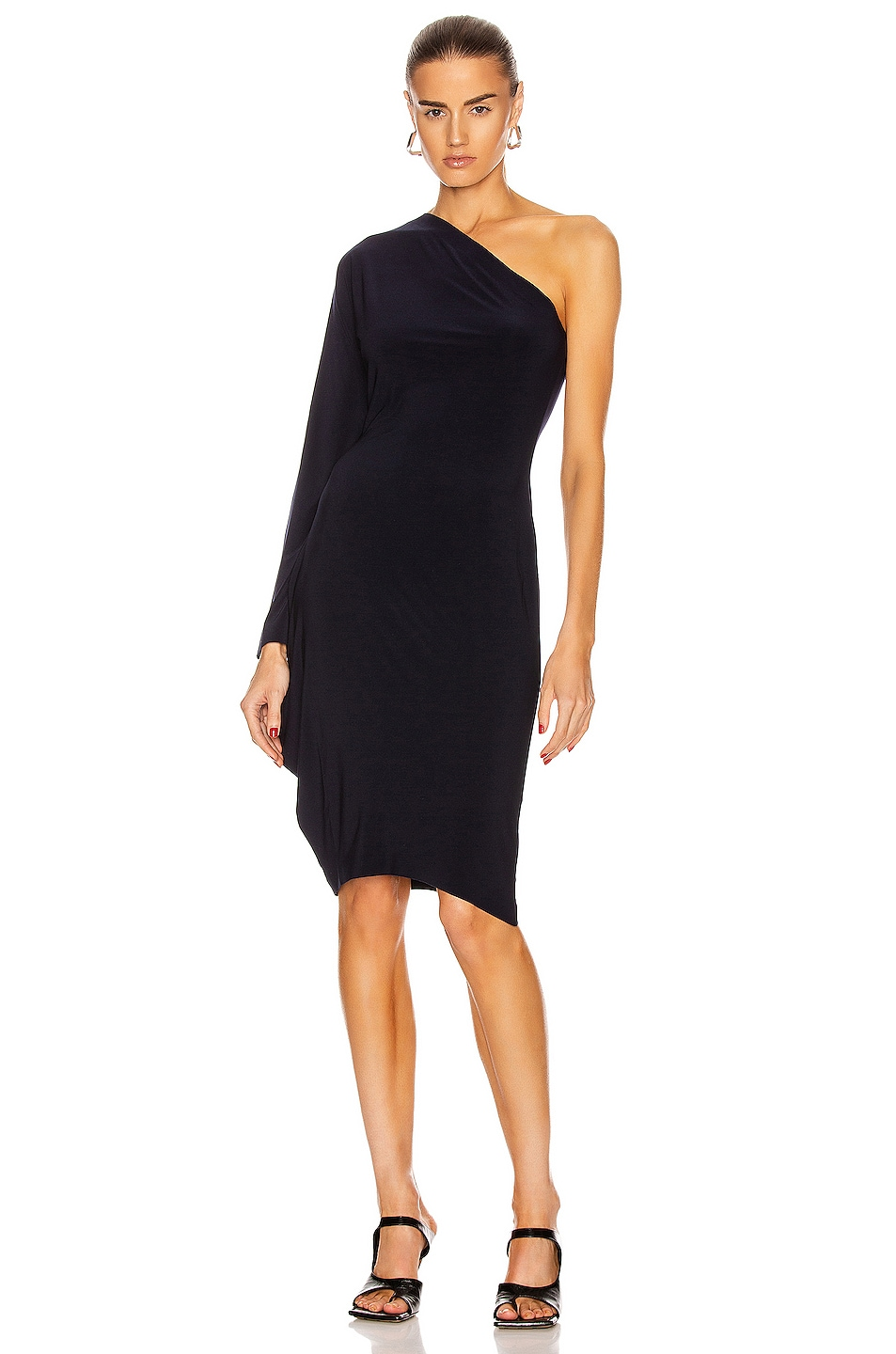 Image 1 of Norma Kamali One Shoulder Modern Sculpture Dress in Midnight
