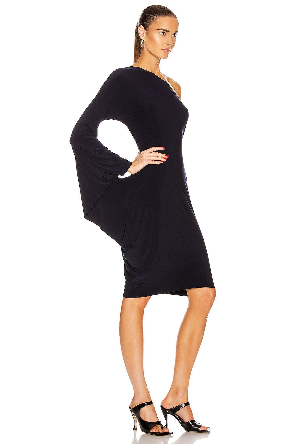 Image 2 of Norma Kamali One Shoulder Modern Sculpture Dress in Midnight