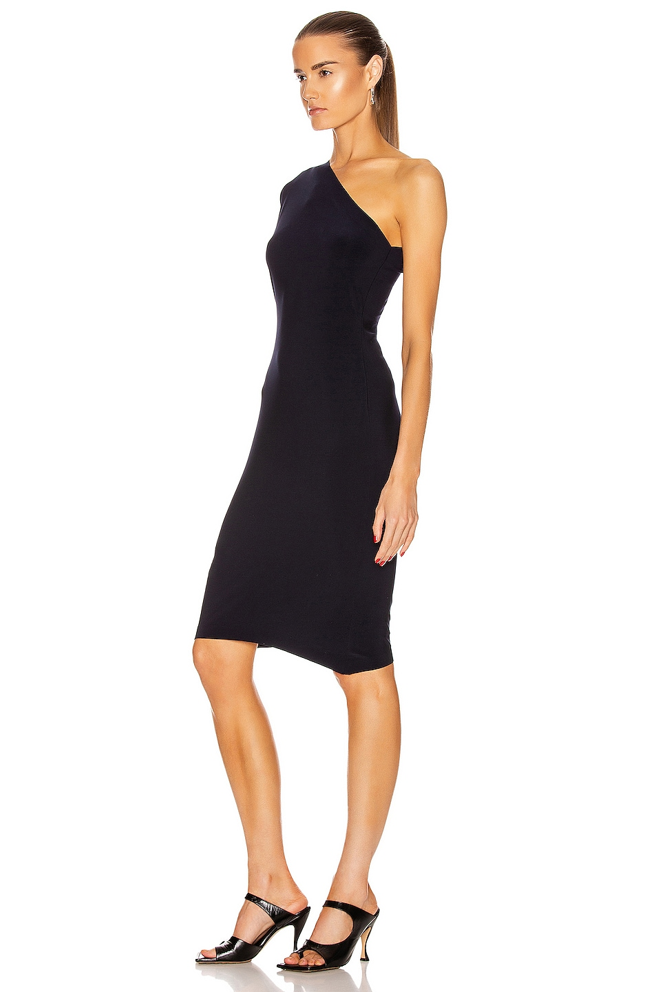 Image 3 of Norma Kamali One Shoulder Modern Sculpture Dress in Midnight