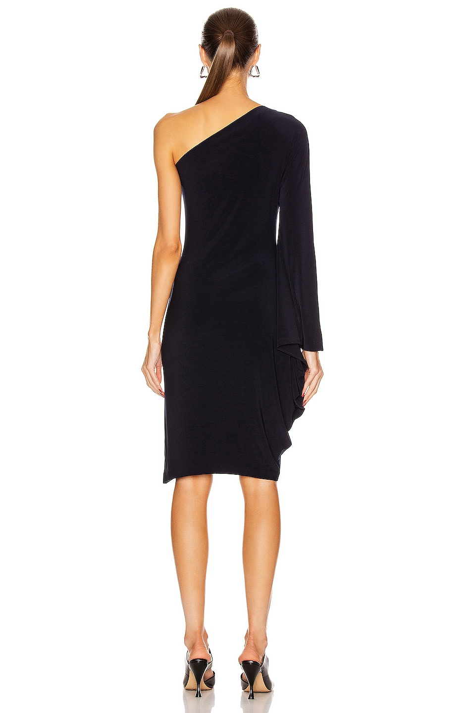 Image 4 of Norma Kamali One Shoulder Modern Sculpture Dress in Midnight