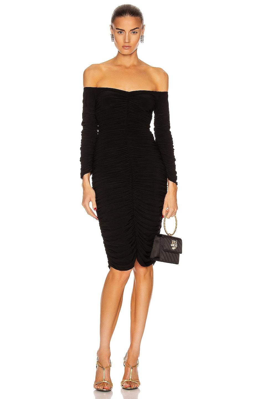 Image 1 of Norma Kamali Off Shoulder Slinky Dress in Black