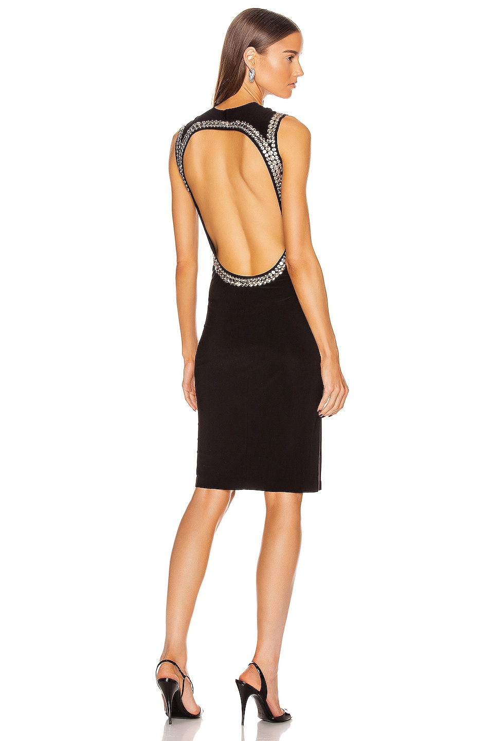 Image 1 of Norma Kamali for FWRD Studded Open Back Dress in Black