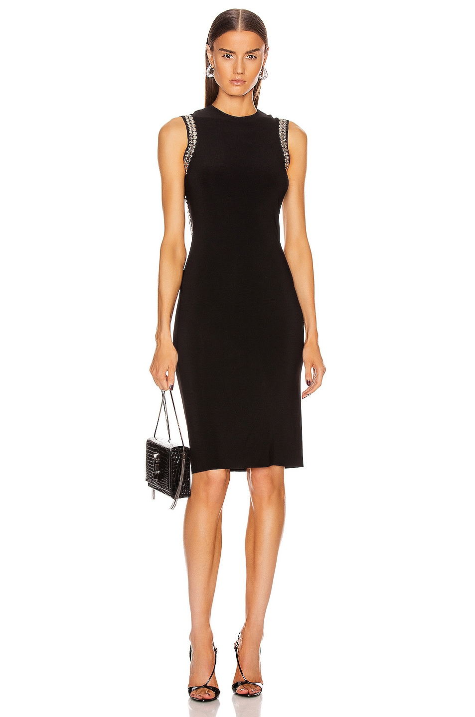 Image 2 of Norma Kamali for FWRD Studded Open Back Dress in Black
