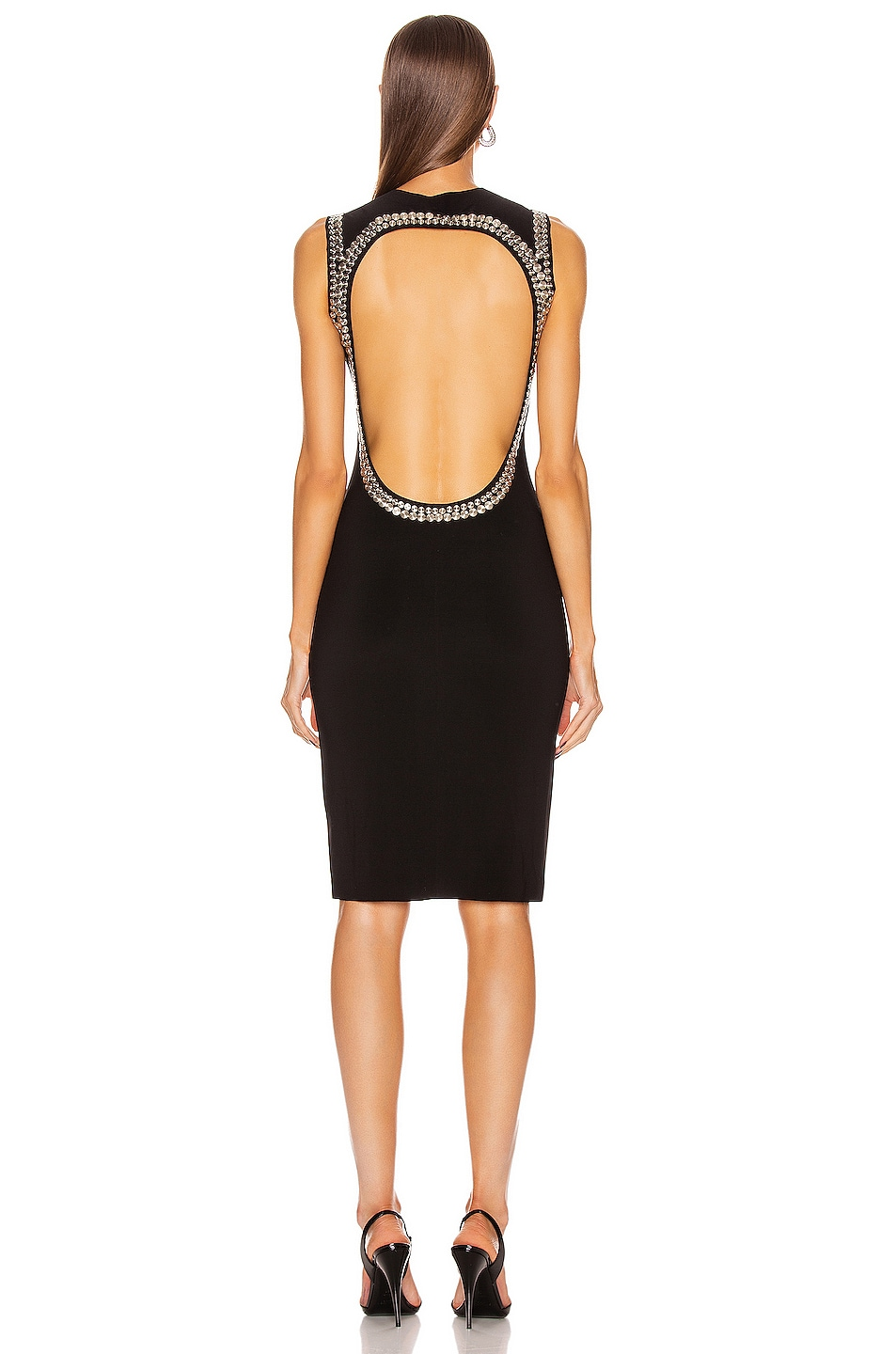 Image 4 of Norma Kamali for FWRD Studded Open Back Dress in Black