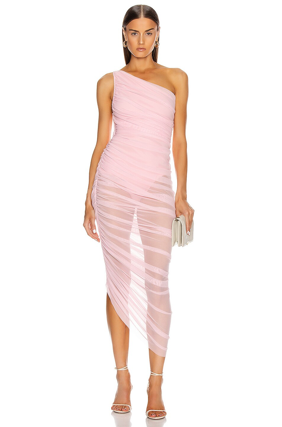 Image 1 of Norma Kamali for FWRD Diana Gown in Bubble Gum Mesh
