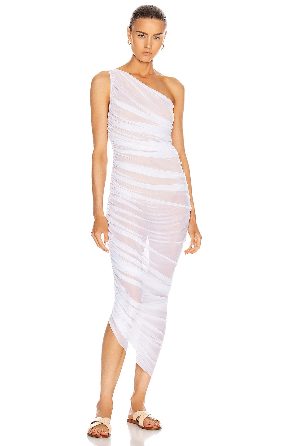 Image 1 of Norma Kamali for FWRD Diana Gown in White & Nude Mesh