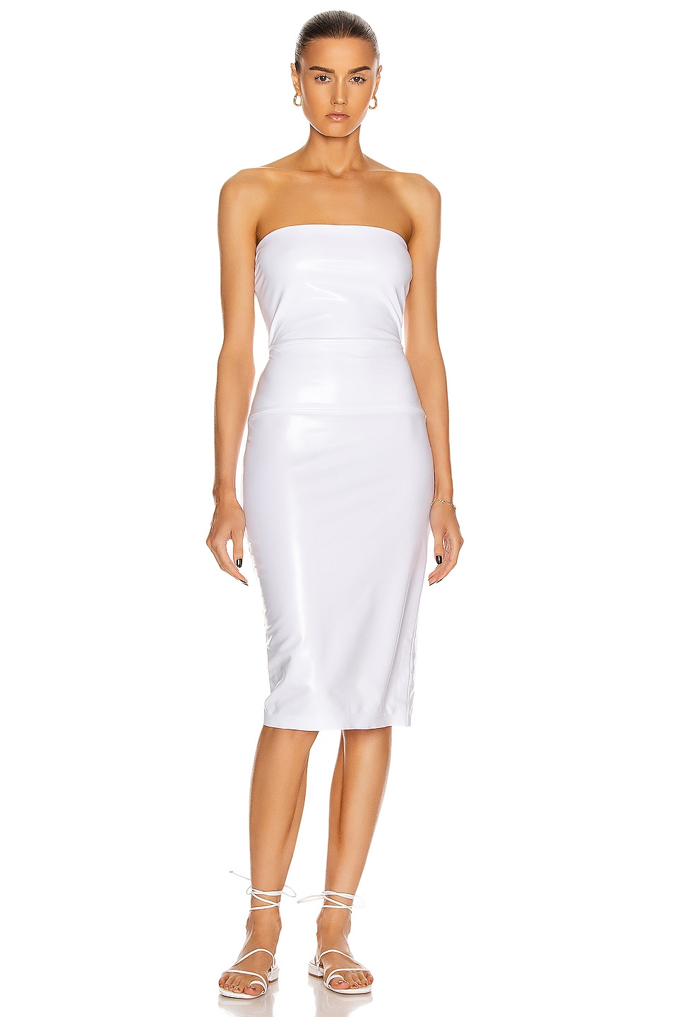 Image 1 of Norma Kamali for FWRD Strapless Dress in White Foil