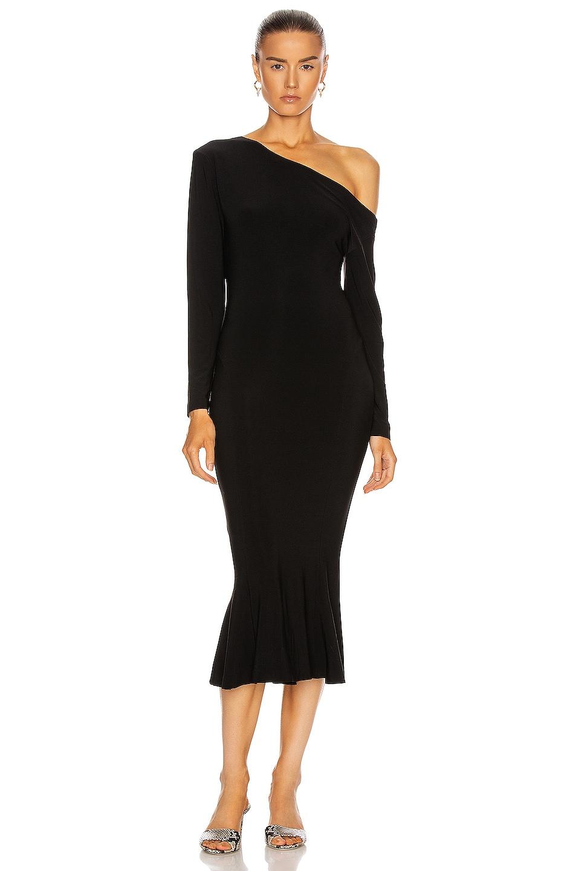 Image 1 of Norma Kamali Long Sleeve Drop Shoulder Fishtail Dress in Black