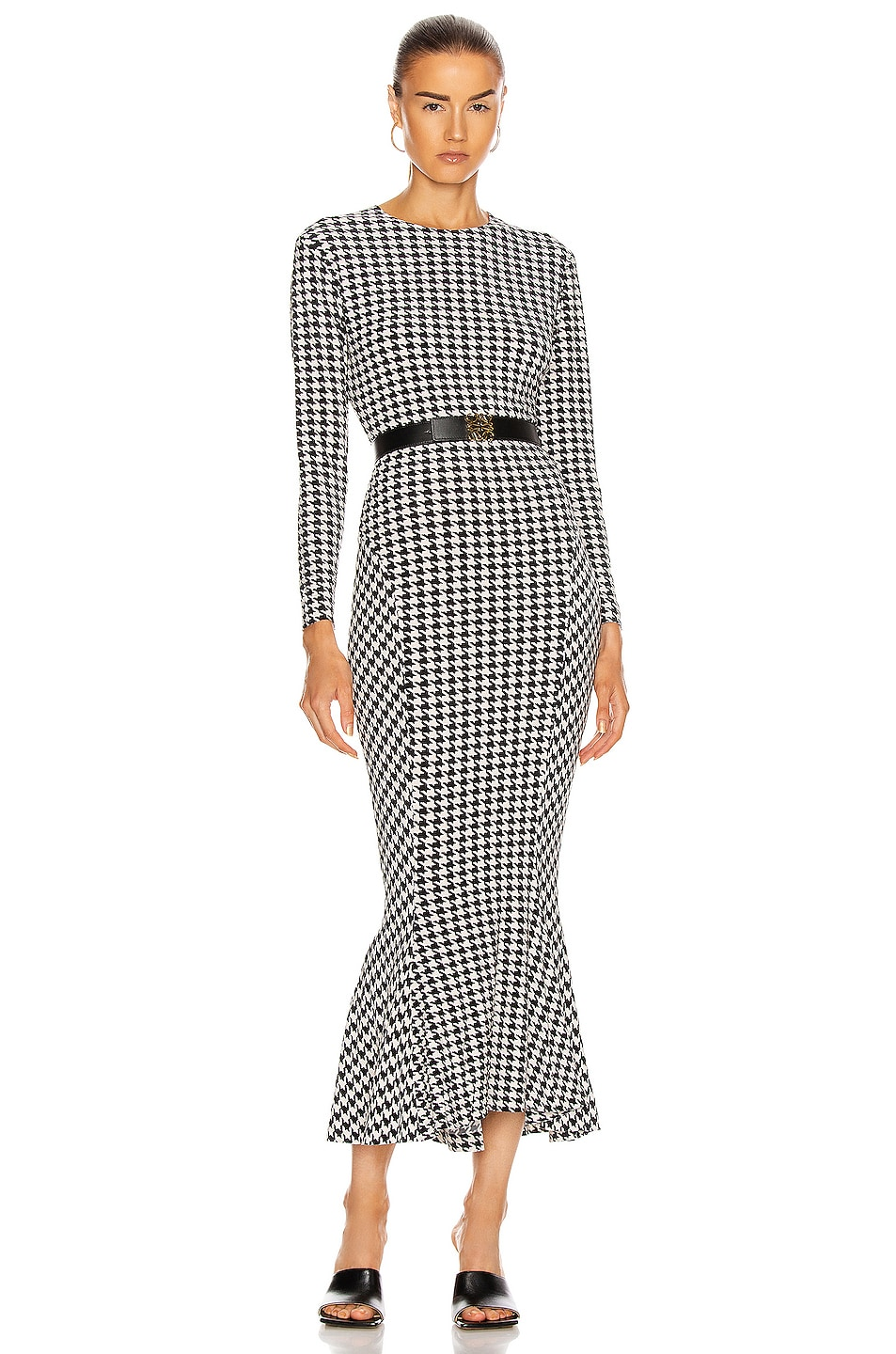 Image 1 of Norma Kamali Long Sleeve Crew Fishtail Dress in Large Check