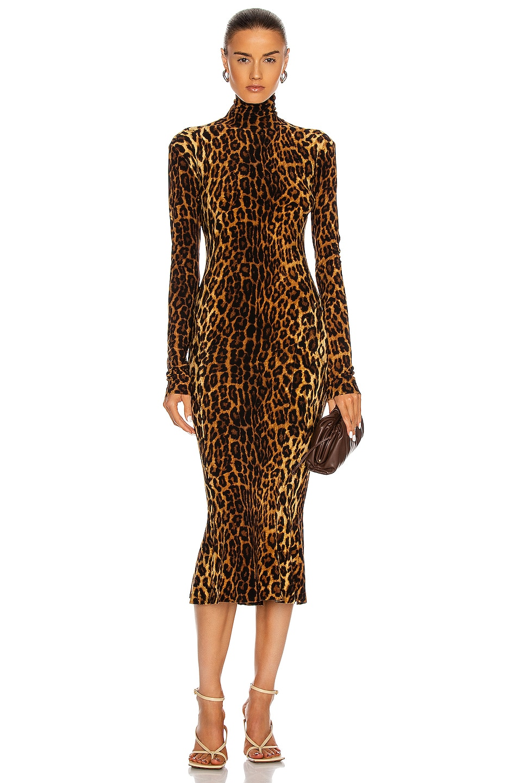 Image 1 of Norma Kamali Long Sleeve Turtleneck Fishtail Dress in Pantera