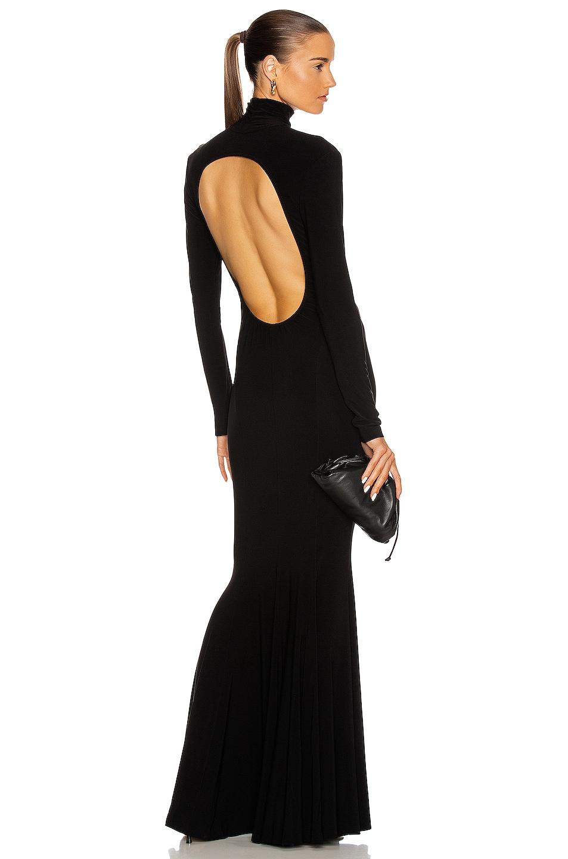 Image 1 of Norma Kamali Long Sleeve Turtleneck Open Back Fishtail Dress in Black
