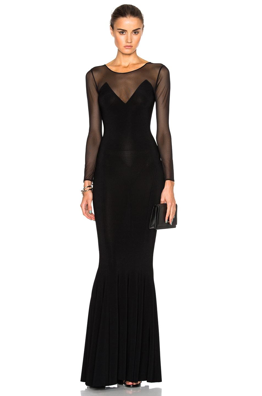 Image 1 of Norma Kamali Fishtail Dress in Black Mesh