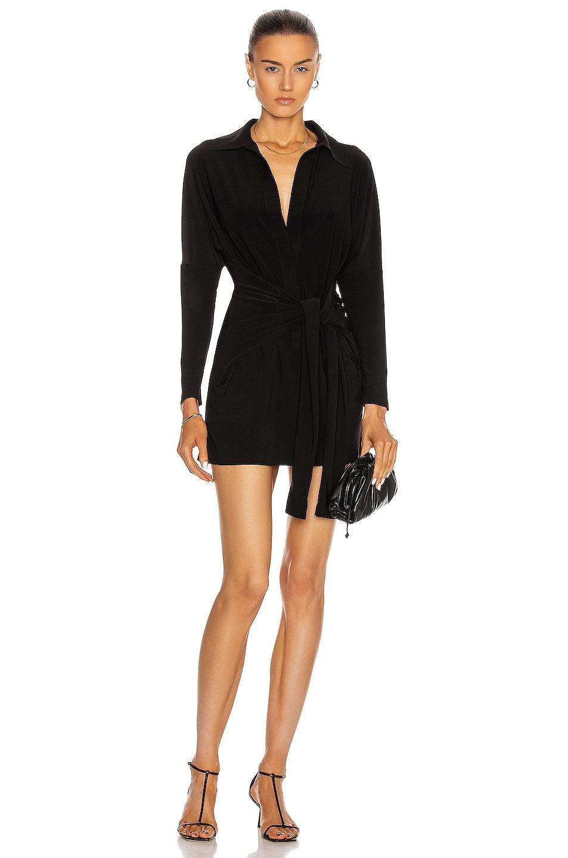 Image 1 of Norma Kamali Mini Tie Front Shirt Dress in Black