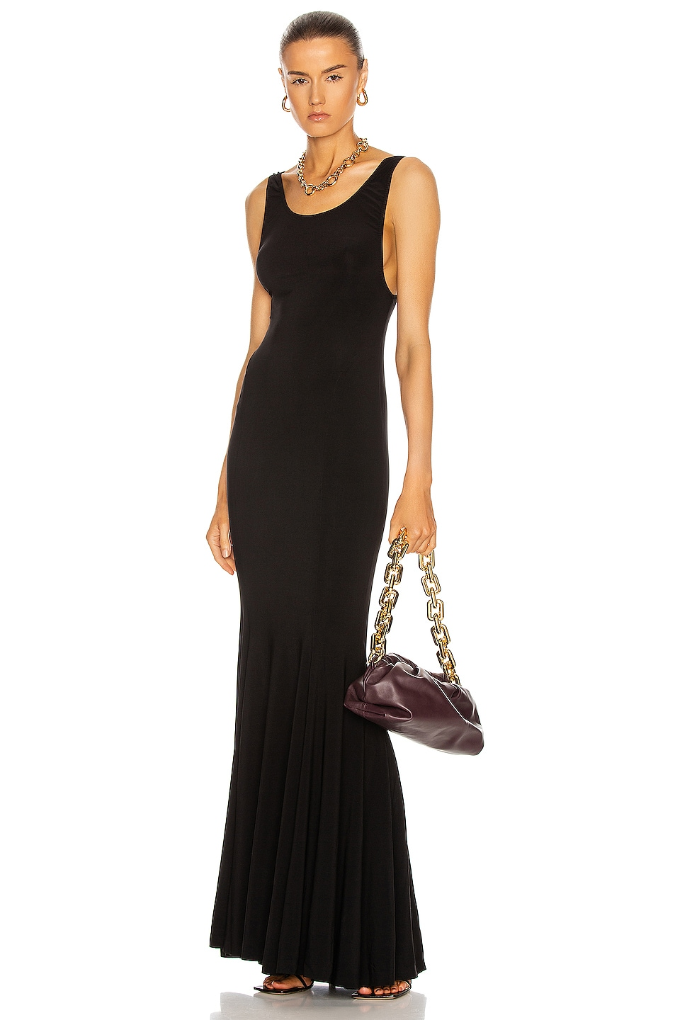 Image 1 of Norma Kamali Marissa Fishtail Gown in Black