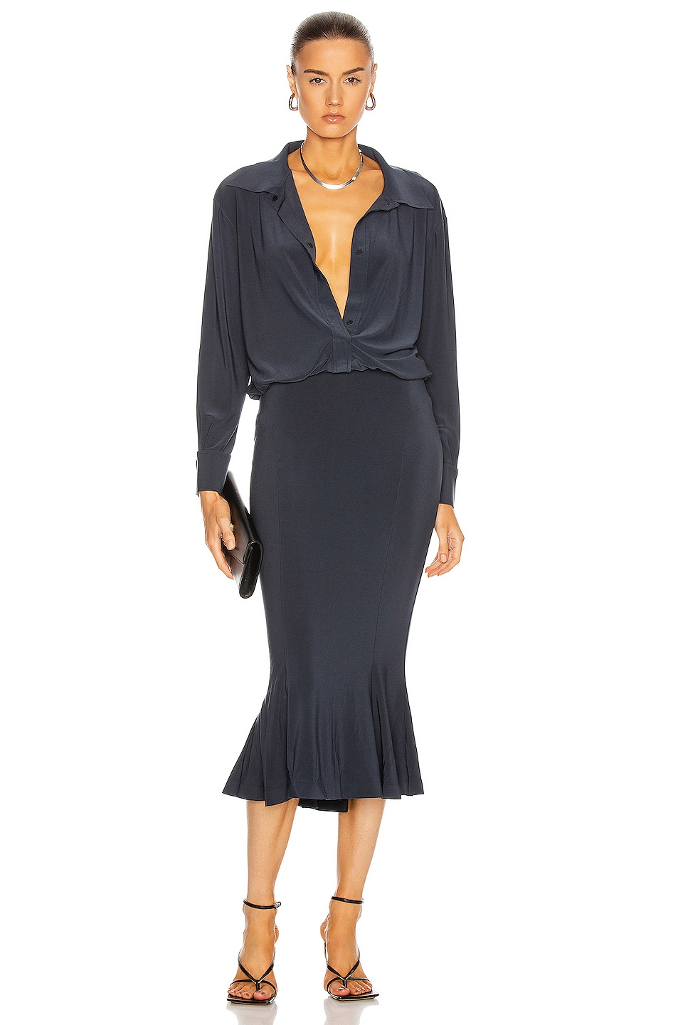 Image 1 of Norma Kamali for FWRD Boyfriend Shirt Fishtail Dress in Pewter