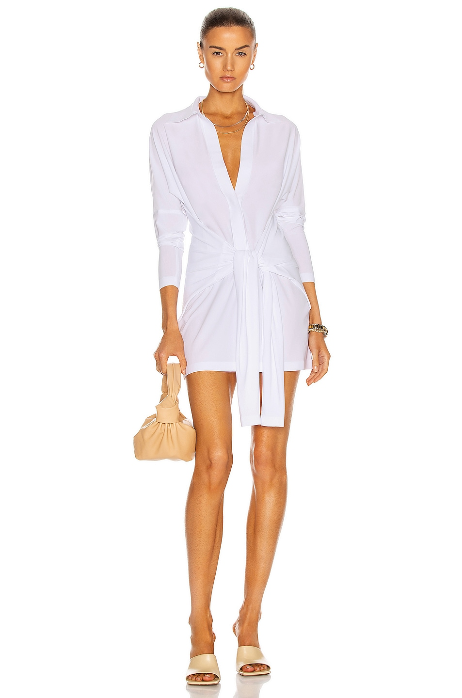 Image 1 of Norma Kamali Mini Tie Front NK Shirt Dress in White