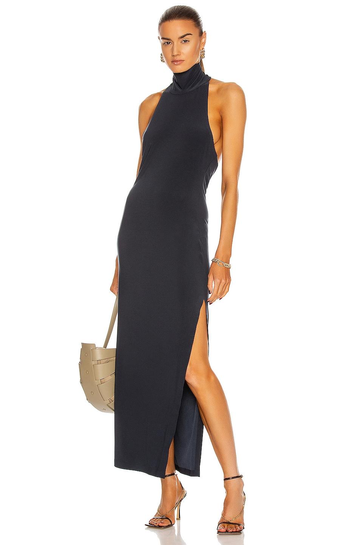 Image 1 of Norma Kamali Norma Kamali Halter Turtleneck Side Slit Dress in Pewter