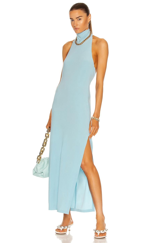 Image 1 of Norma Kamali Halter Turtleneck Side Slit Gown in Powder Blue