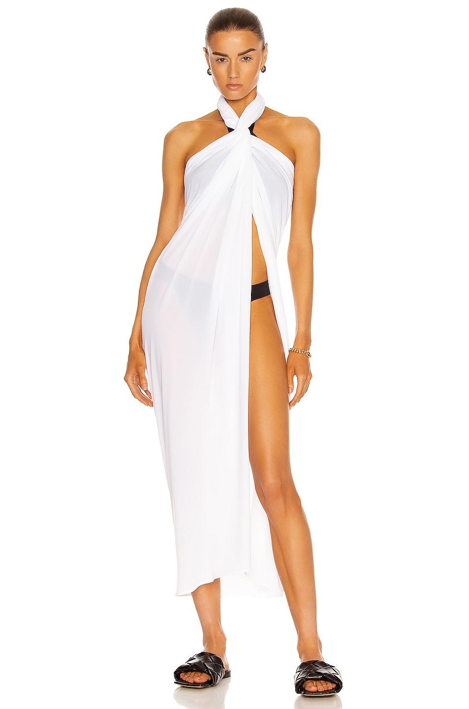 Image 1 of Norma Kamali Ernie Scarf Dress in White