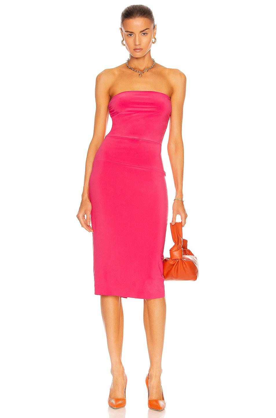 Image 1 of Norma Kamali for FWRD Strapless Dress in Rose