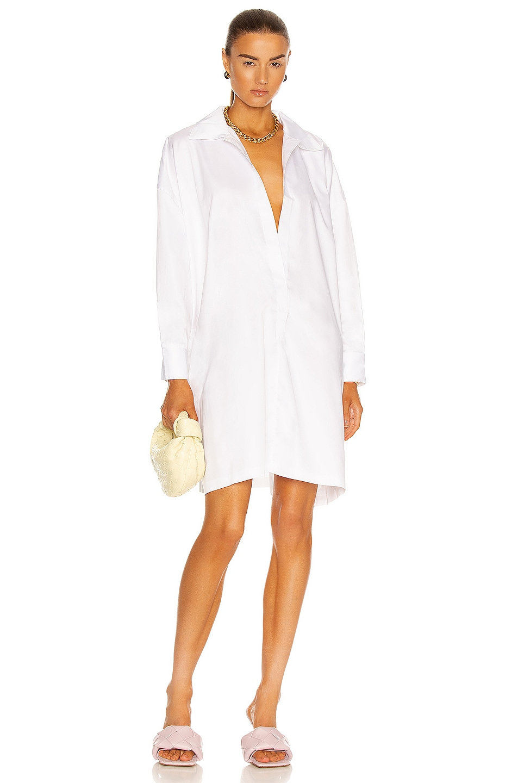Image 1 of Norma Kamali Super Oversized Boyfriend NK Shirt Dress to Knee in White