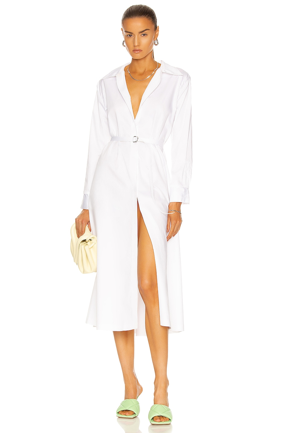 Image 1 of Norma Kamali Boyfriend Shirt A Line Dress To Midcalf in White