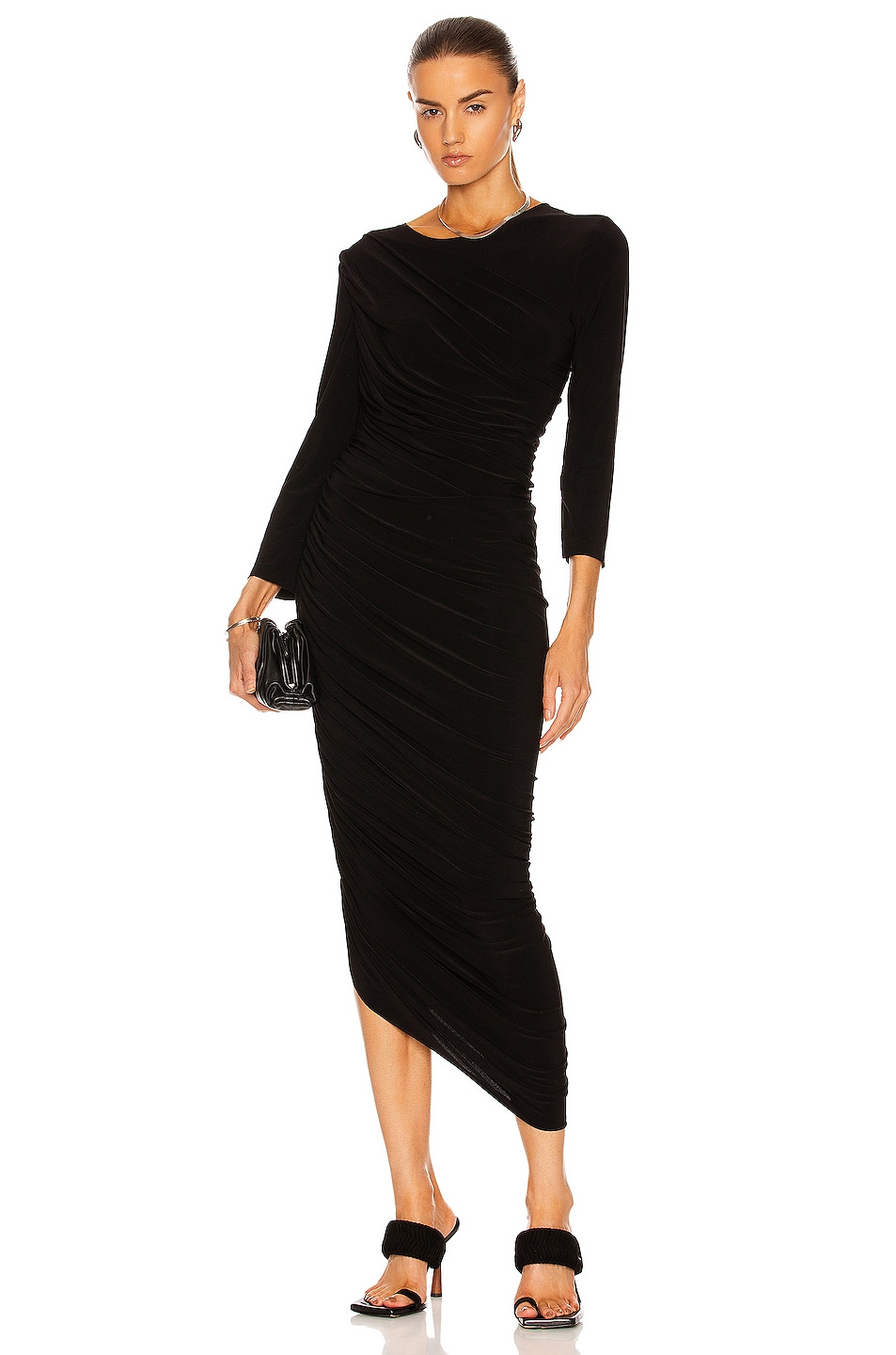 Image 1 of Norma Kamali Long Sleeve Diana Gown in Black