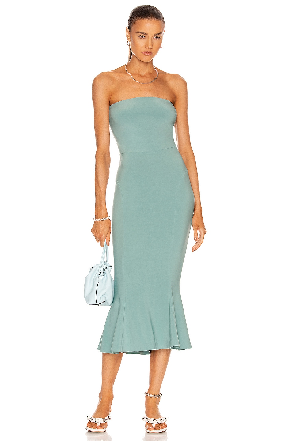 Image 1 of Norma Kamali Strapless Fishtail Dress in Vintage Mint