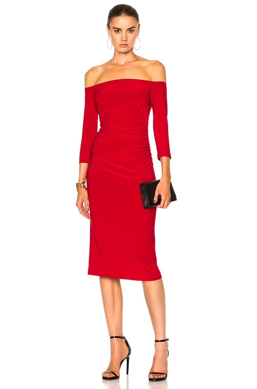 dbfa9b4bfd6c6 Image 1 of Norma Kamali Off Shoulder Shirred Waist Dress in Red