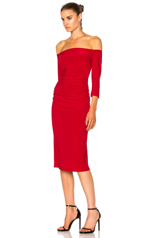 6cda3517861bd Image 2 of Norma Kamali Off Shoulder Shirred Waist Dress in Red