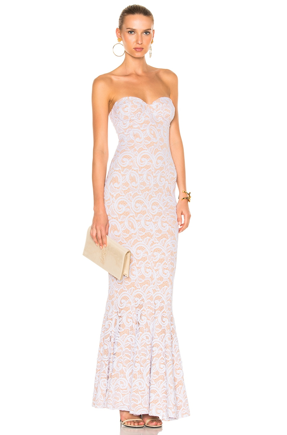 Norma Kamali Corset Gown in White Lace | FWRD