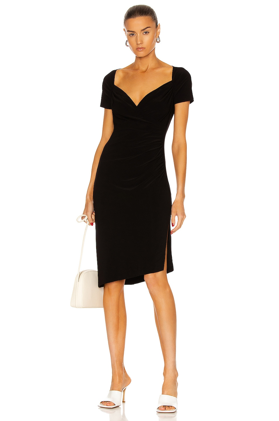 Image 1 of Norma Kamali Sweetheart Side Drape Dress in Black