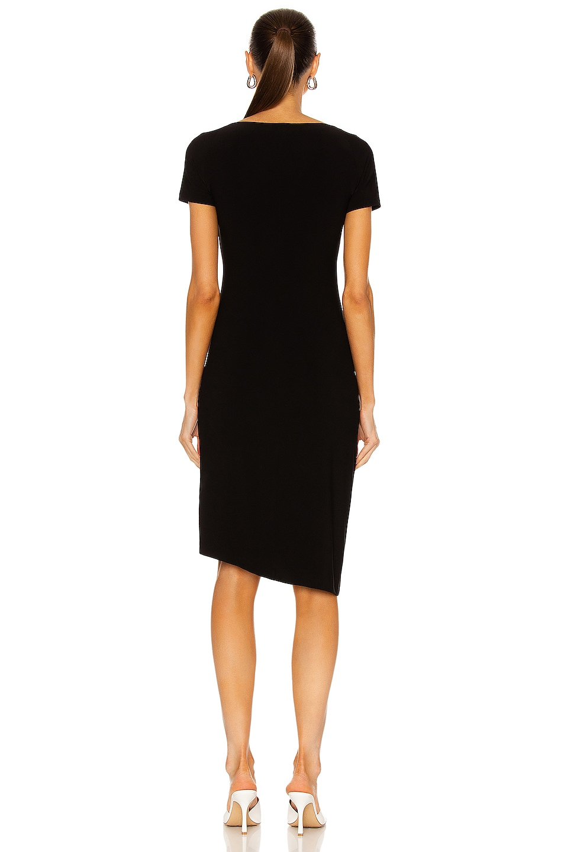 Image 3 of Norma Kamali Sweetheart Side Drape Dress in Black