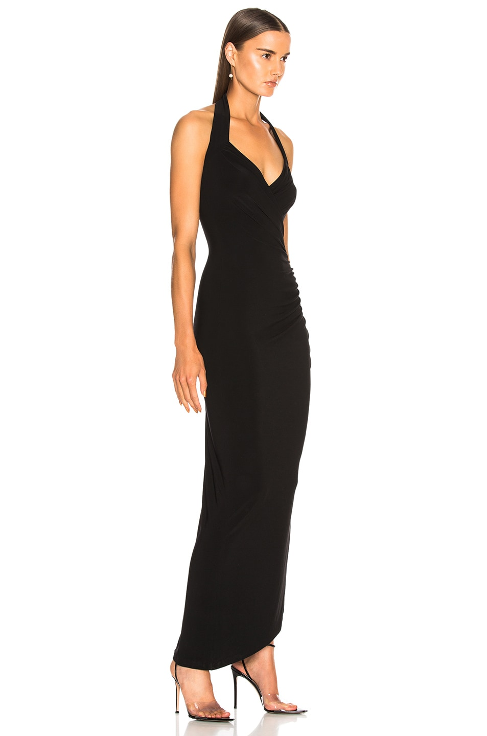 Image 2 of Norma Kamali Halter Sweetheart Side Drape Gown in Black