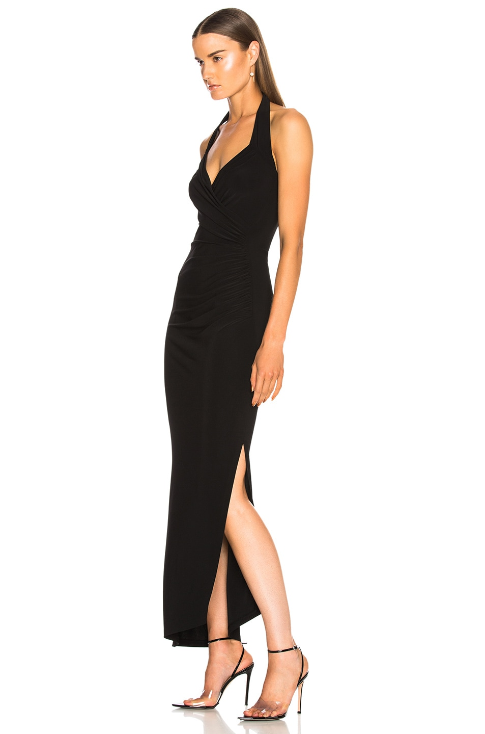 Image 3 of Norma Kamali Halter Sweetheart Side Drape Gown in Black