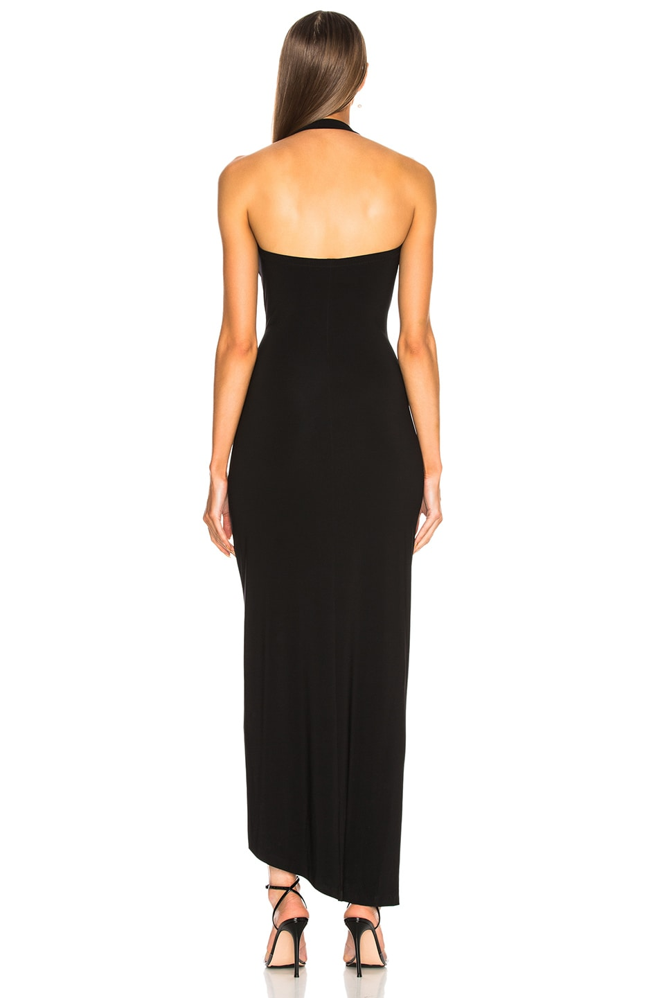 Image 4 of Norma Kamali Halter Sweetheart Side Drape Gown in Black