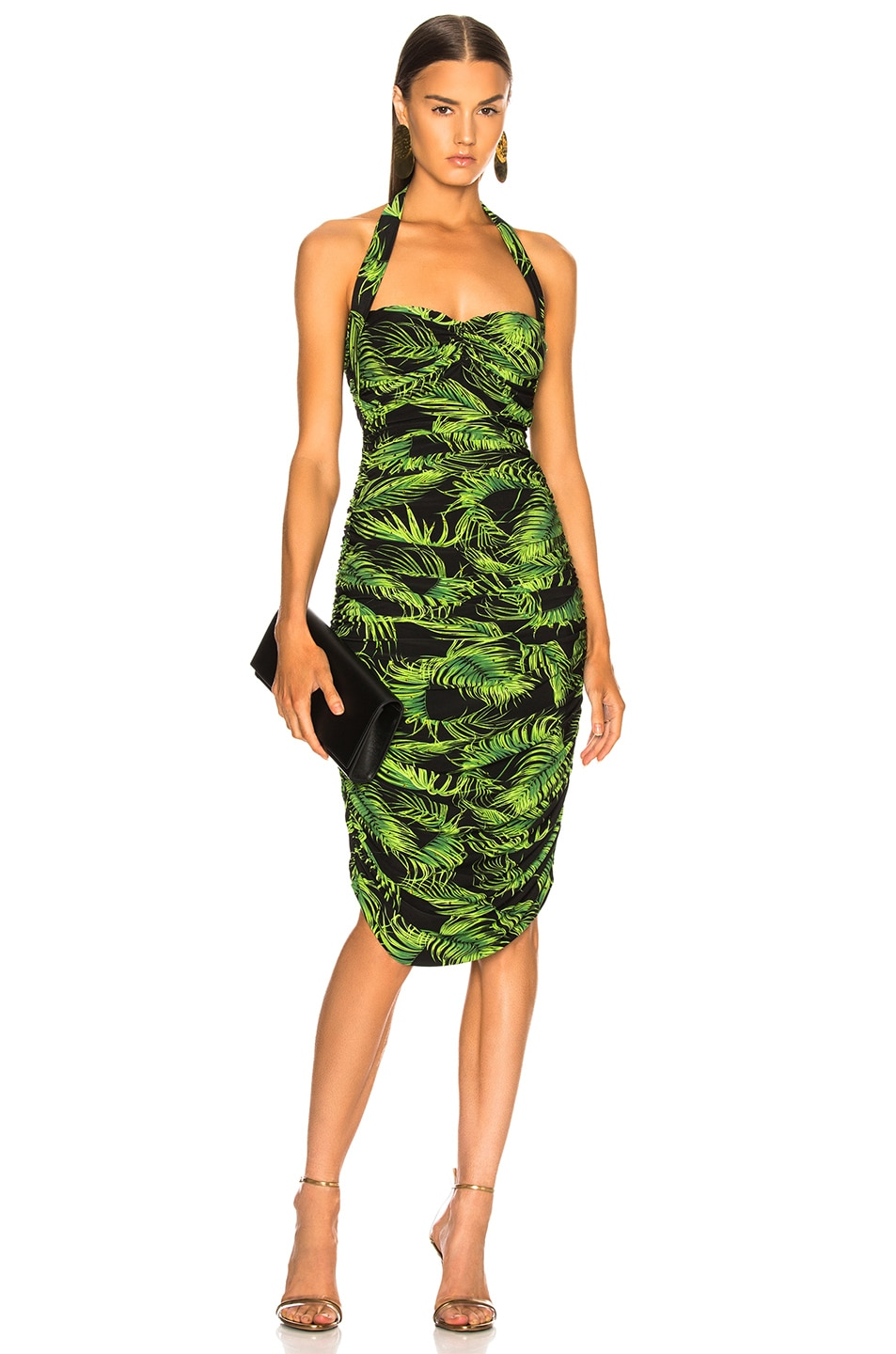 a4a18ca11be01 Image 1 of Norma Kamali Bill Dress With Rhinestones in Palm Leaf