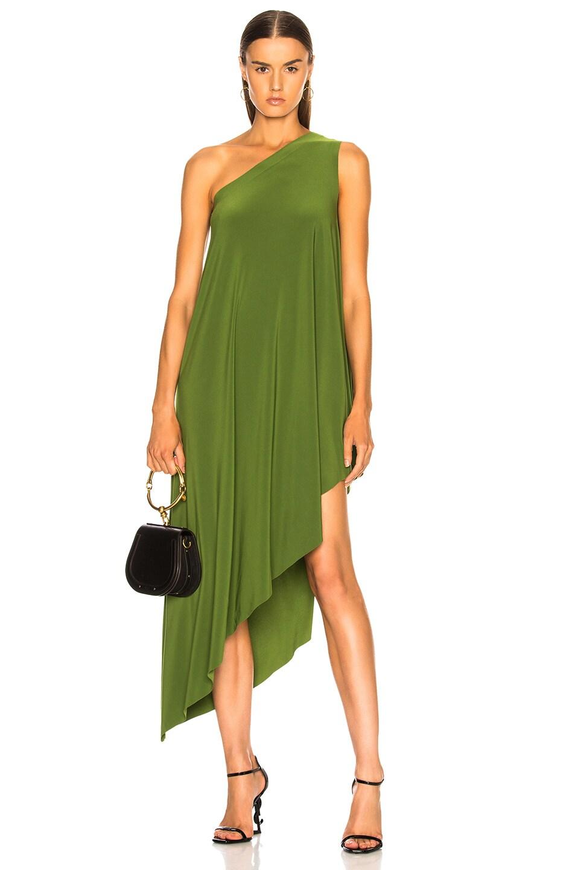 One Shoulder Diagonal Dress in Green Norma Kamali fp4ERVL0