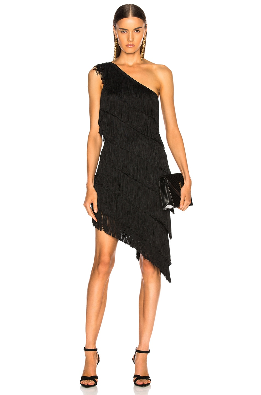 Image 1 of Norma Kamali for FWRD Fringe One Shoulder Dress in Black