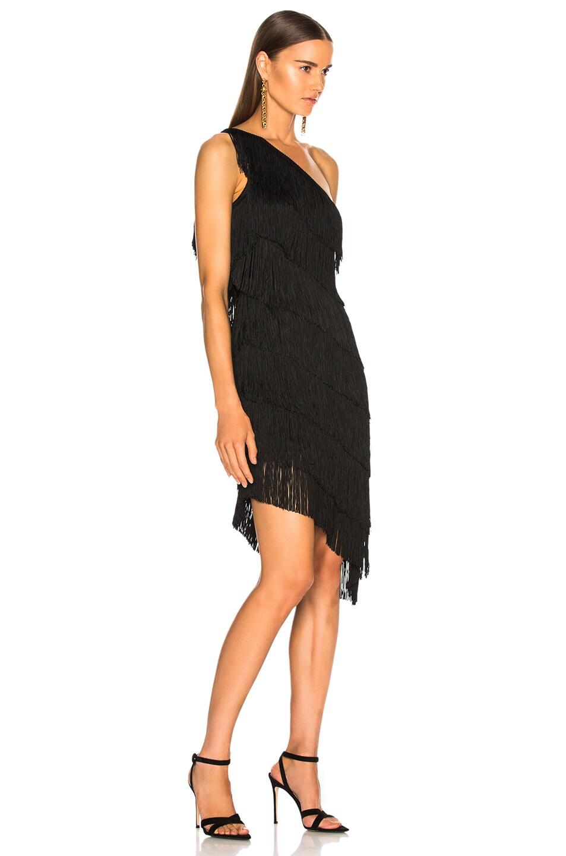 Image 2 of Norma Kamali for FWRD Fringe One Shoulder Dress in Black