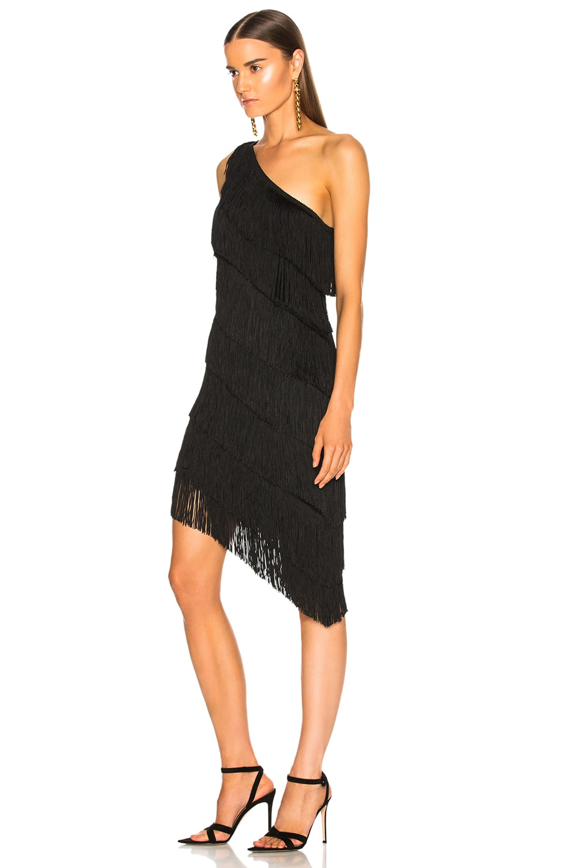 Image 3 of Norma Kamali for FWRD Fringe One Shoulder Dress in Black