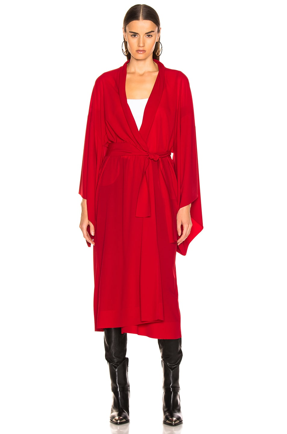 Image 2 of Norma Kamali Midcalf Robe in Red