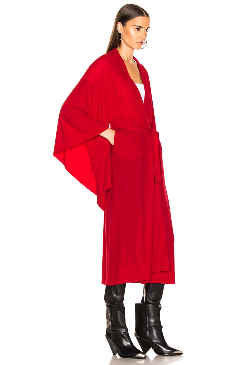 Image 3 of Norma Kamali Midcalf Robe in Red